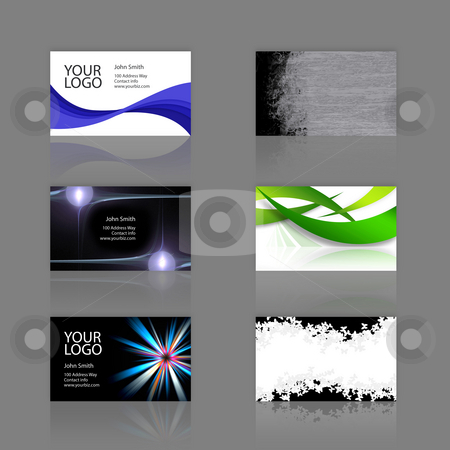 Business Cards Assortment stock photo, An assortment of 6 modern business cards - templates that are print ready and fully customizable. These include .25 inch bleed. Cards are 3.75 x 2.25 total, and trim to the standard 3.5 x 2 size. by Todd Arena
