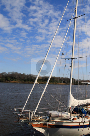 Sailboat On Savannah River stock photo, Saile boat moored to dock on the savannah river by Jack Schiffer
