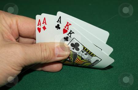 Aces and kings stock photo, Showing a great hand with aces and kings by Tim Markley