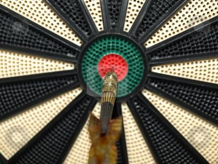 On tne mark stock photo, A dark thrown dead on center, a bullseye by Tim Markley
