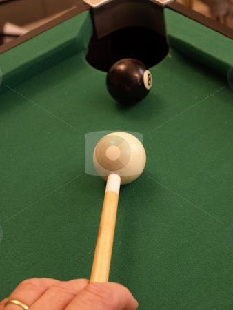 Eight ball stock photo, Eight ball in the corner pocket by Tim Markley