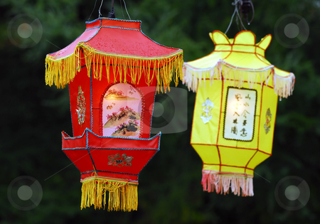 Chinese lanterns (Illuminated) stock photo, Portrait of two Illuminated Chinese Lanterns by Alain Turgeon