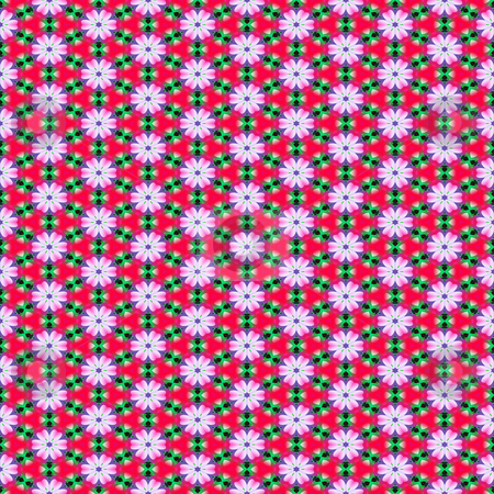 Flower shape pattern stock photo, Seamless texture of abstract daisy flowers on red background by Wino Evertz