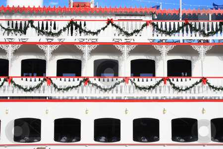 Christmas Ferry stock photo, Ferry boat railings decroated with christmas ornaments by Jack Schiffer