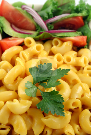 Macaroni And Salad stock photo, Macaroni cheese and a fresh red onion garden salad ready to serve. by Brett Mulcahy