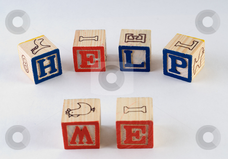Help Me stock photo, The words help me, spelled using wooden baby blocks by Richard Nelson