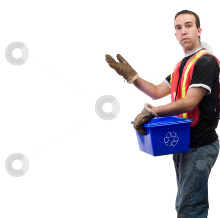 Recycle Worker stock photo, A recycle worker showing off your text, isolated against a white background by Richard Nelson