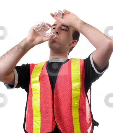 Hard Worker stock photo, A thirsty city worker is having a drink from a bottle of water, isolated against a white background by Richard Nelson