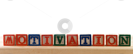 Motivation stock photo, The word motivation spelled using colored baby letter blocks, isolated against a white background by Richard Nelson