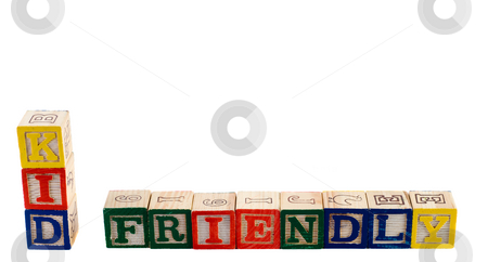 Kid Friendly stock photo, The words kid friendly spelled out using wooden letter blocks, isolated against a white background by Richard Nelson