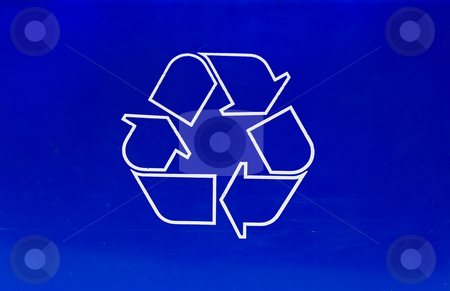 Recycle Symbol stock photo, Closeup view of a blue box with the recycle symbol on the side by Richard Nelson