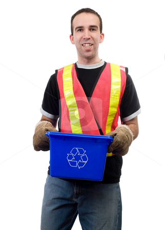 Happy City Worker stock photo, A happy city worker, smiling while holding a blue box, isolated against a white background by Richard Nelson