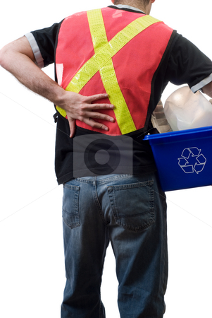 Hard Work stock photo, A city worker suffering from a sore back, from picking up blue boxes of recycling by Richard Nelson