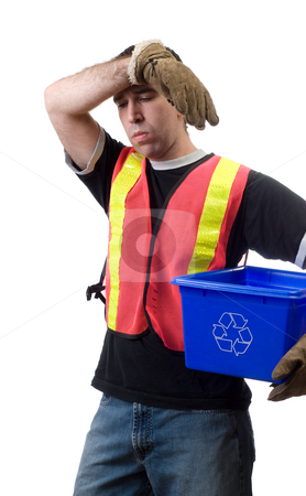 Hard Work stock photo, A young man getting tired from all of his hard work, isolated against a white background by Richard Nelson