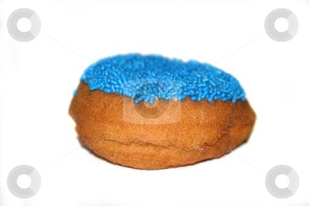 Donut stock photo, Fresh blue yummy donut on white background. by Henrik Lehnerer