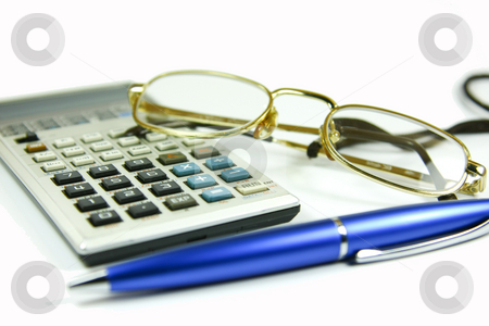 Business concept stock photo, Business / office concept shot, blue pen and a calculator by Erdal Bayhan