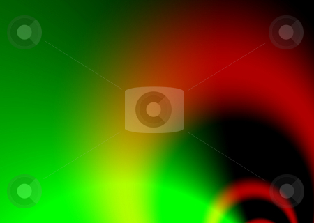 Tunnel flap green stock photo, Green and red abstract flowing background with loops by Michael Travers