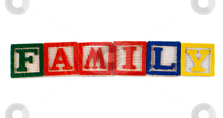 Family stock photo, The word family, spelled using colorful letter blocks, isolated against a white background by Richard Nelson