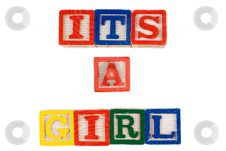 Its A Girl stock photo, Its A Girl, spelled using colorful letter blocks, isolated against a white background by Richard Nelson
