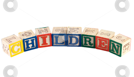 Children stock photo, The word children, spelled using colorful letter blocks, isolated against a white background by Richard Nelson