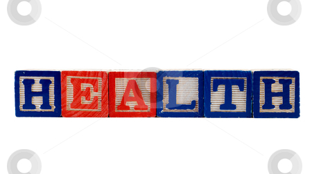 Health stock photo, The word health, spelled using colored letter blocks, isolated against a white background by Richard Nelson