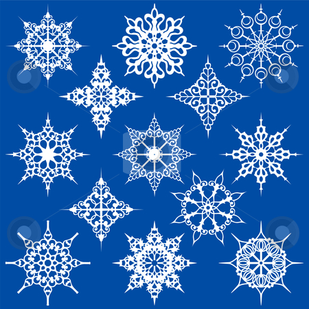 Various Ornate Snowflakes stock vector clipart, Thirteen Various Ornate Snowflakes by Adrian Sawvel