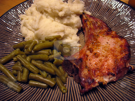Pork Chop Dinner stock photo, A delicious plate of grilled/marinated pork chops, string beans, and mashed potatoes. by Todd Arena