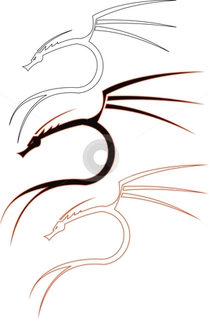 Curved Dragon stock vector clipart, This is an illustration of a curved dragon. there are 3 vectors of the same figure. one is simple, second is double layered and the third is outlined by Fowzan Ahmed