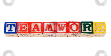 Teamwork stock photo, The word teamwork, spelled using colored letter blocks, isolated against a white background by Richard Nelson
