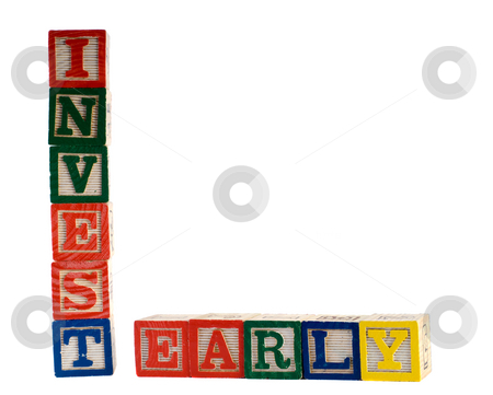 Invest Early stock photo, Concept image of early investments, spelled using colored wooden blocks by Richard Nelson
