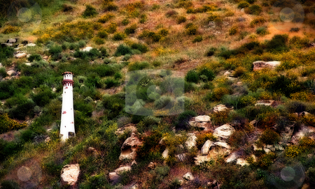 Light Tower stock photo, Small white light tower in Laguna Beach California by Henrik Lehnerer