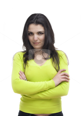 Portrait of young woman stock photo, Portrait of young woman isolated on white by Paulo Resende