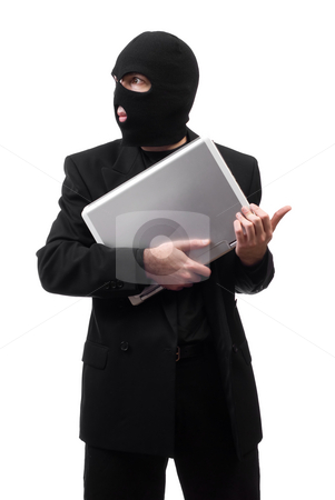 Corporate Secrets stock photo, A thief wearing a black suit is stealing corporate secrets, isolated against a white background by Richard Nelson