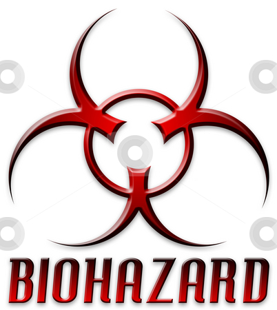 Beveled Red Biohazard Logo stock photo, Danger! BIOHAZARD by Todd Arena