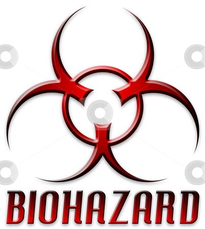 Beveled Red Biohazard Logo stock photo, Danger! BIOHAZARD by Todd Arena