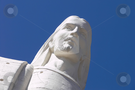 The Redeemer Christ stock photo, The Redeemer Christ on blue sky by Matteo Malavasi
