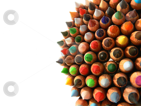 Pencils bunch stock photo, Close up of a bunch of many colored pencils by Matteo Malavasi