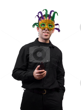 Masquerade Party stock photo, A young man drinking a beer at a masquerade party, isolated against a white background by Richard Nelson