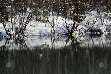Small lake in winter stock photo, Picture of a small lake in winter by Alain Turgeon