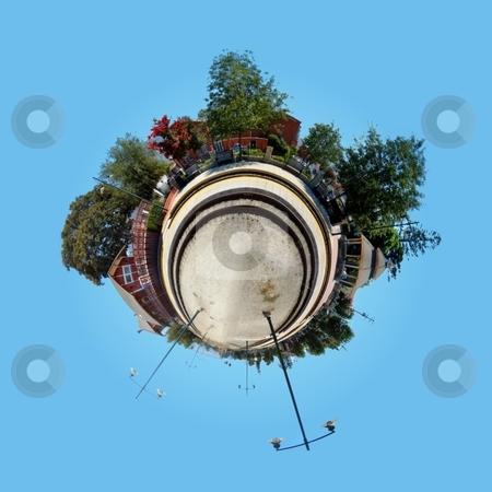 Planet Train Station  stock photo, Panoramic 360 degree shot of th Santa Paula train station. by Henrik Lehnerer