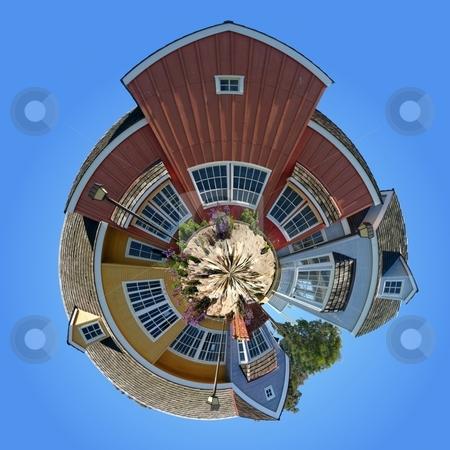 Planet Oxnard Harbor Houses stock photo, Panoramic 360 degree shot of the Oxnard harbor houses by Henrik Lehnerer