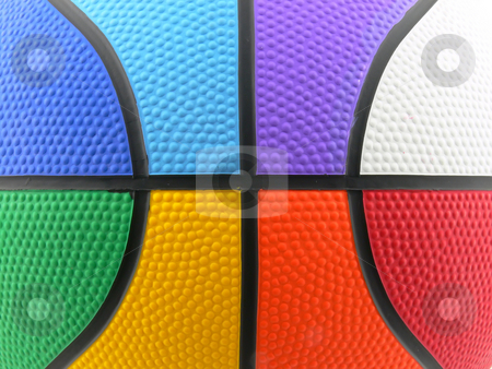 Raimbow colored basket ball background stock photo, Close up picture of a rainbow colored basket ball by Matteo Malavasi