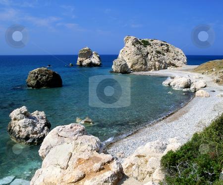 Aphrodite's birthplace on the island of Cyprus stock photo, Petra tou Romiou (