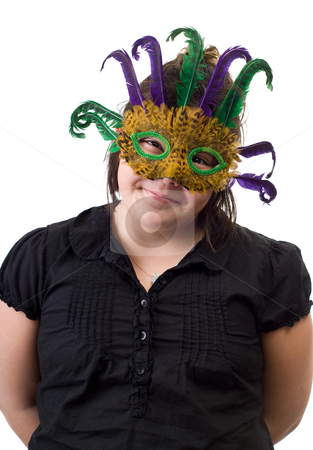 Childhood Dress-up stock photo, A young girl playing dress-up and wearing a feather mask, isolated against a white background by Richard Nelson