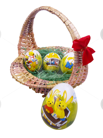 Easter basket stock photo, Basket with easter eggs by Torsten Lorenz