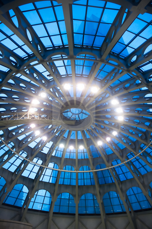 Glass dome ceiling stock photo, Shopping mall glass dome ceiling  interior view by Francesco Perre