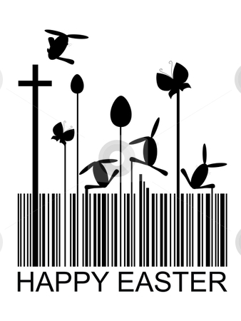 Easter barcode stock vector clipart, Easter bar code, vector illustration by Milsi Art