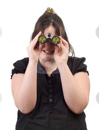 Nature Watching stock photo, A young girl watching a deer through a set of binoculars, isolated against a white background by Richard Nelson