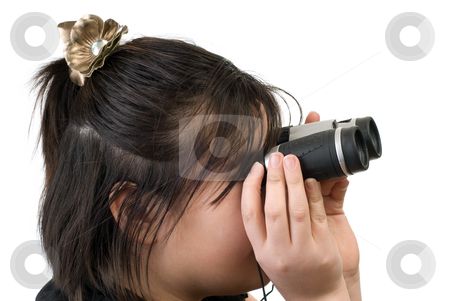 Spying stock photo, A young girl spying with a pair of binoculars, isolated against a white background by Richard Nelson