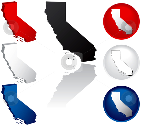 State of California Icons stock vector clipart, California Icons by Adrian Sawvel